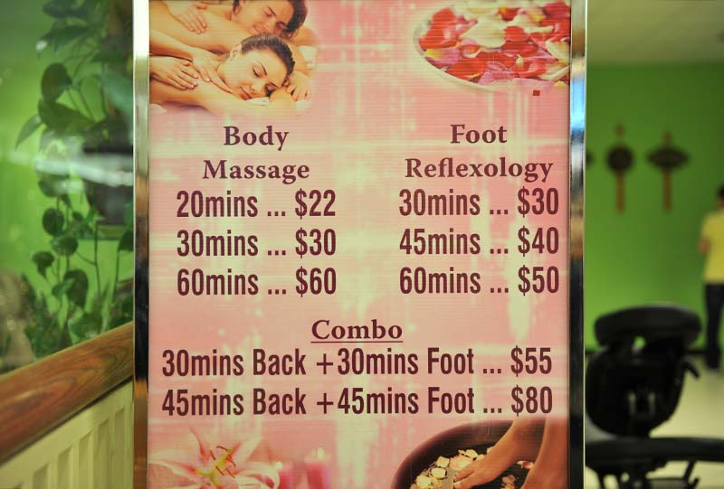 price list for Asian Therapy at CityPlace Burlington