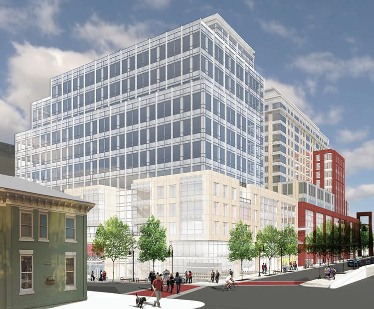 Architect's rendering of the new CityPlace Burlington at Bank Street and the newly-restored block of St. Paul Street