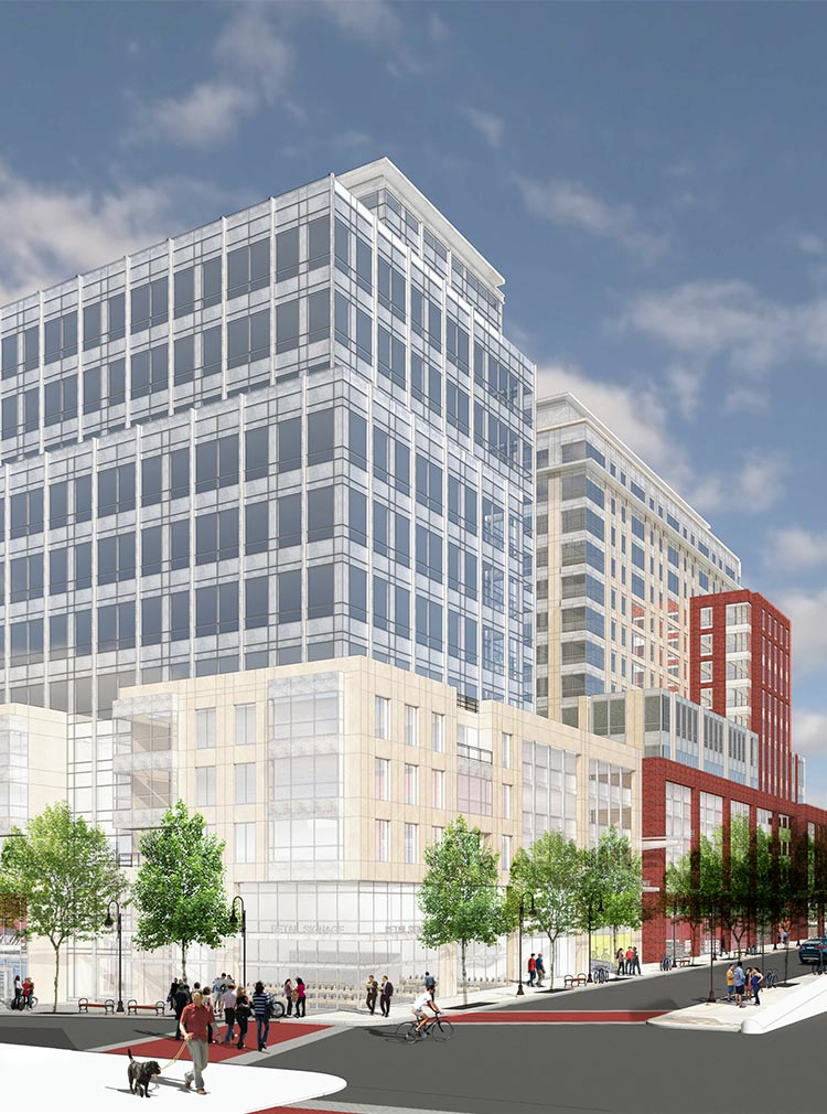 Architect rendering of office space at CityPlace Burlington on St. Paul and Bank Streets
