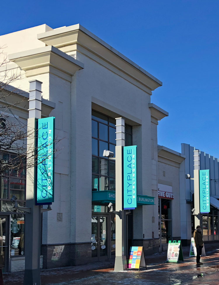 Exterior of The Shops at CityPlace Burlington, main entrance on Church Street Marketplace