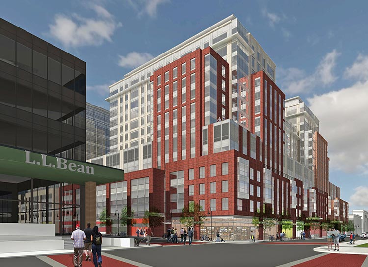 Architect's rendering of the new CityPlace Burlington from Cherry and St. Paul Streets
