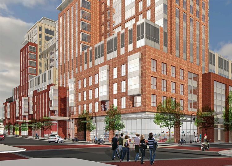 Architect's rendering of the new CityPlace Burlington at Cherry and Pine Streets