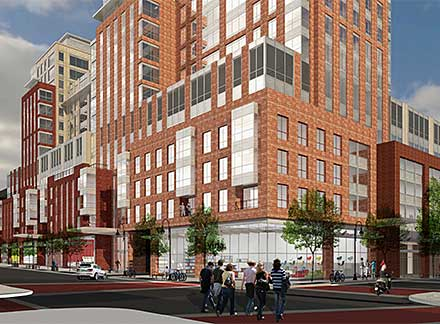 Architect's rendering of the new CityPlace Burlington at Cherry Street and the newly-restored block of Pine Street